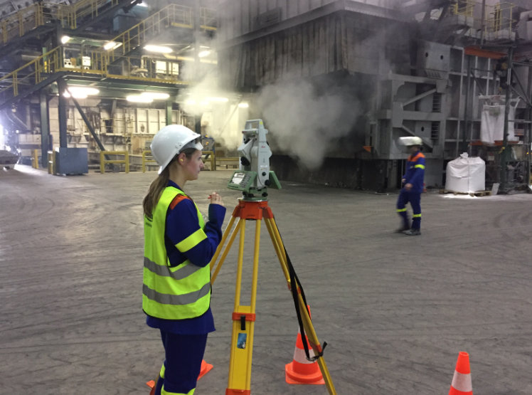 Tachymetrische Vermessung zur Festlegung eines lokalen Koordinatensystems im Aluminiumwalzwerk