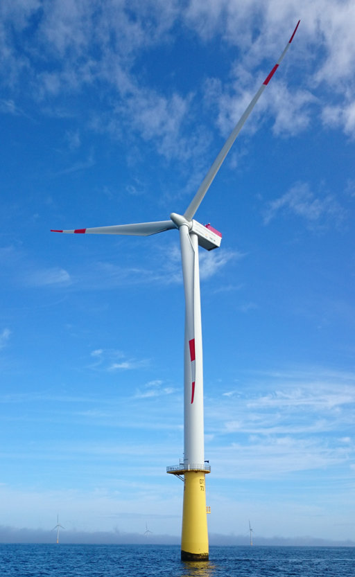 Windkraftanlage bei einem Projekt der ALLSAT zum Thema Offshore GNSS-Positionierung