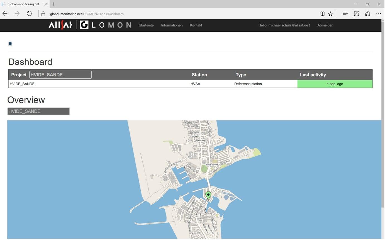 Die Onshore-GNSS-Station in Hvide Sande im ALLSAT GLOMON Portal