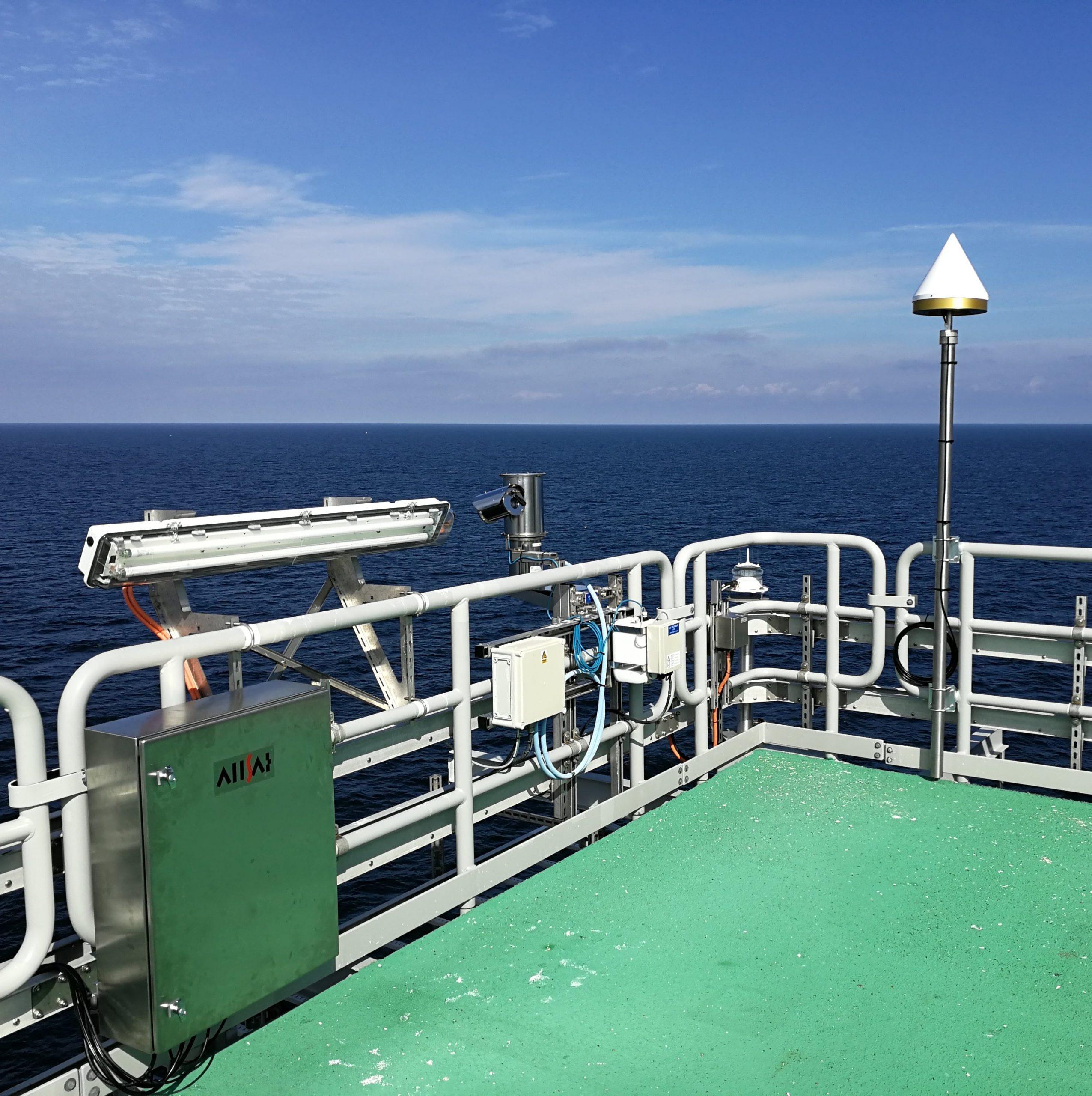 GNSS-Referenzstation auf der Offshore-Plattform OSS Horns Rev 3