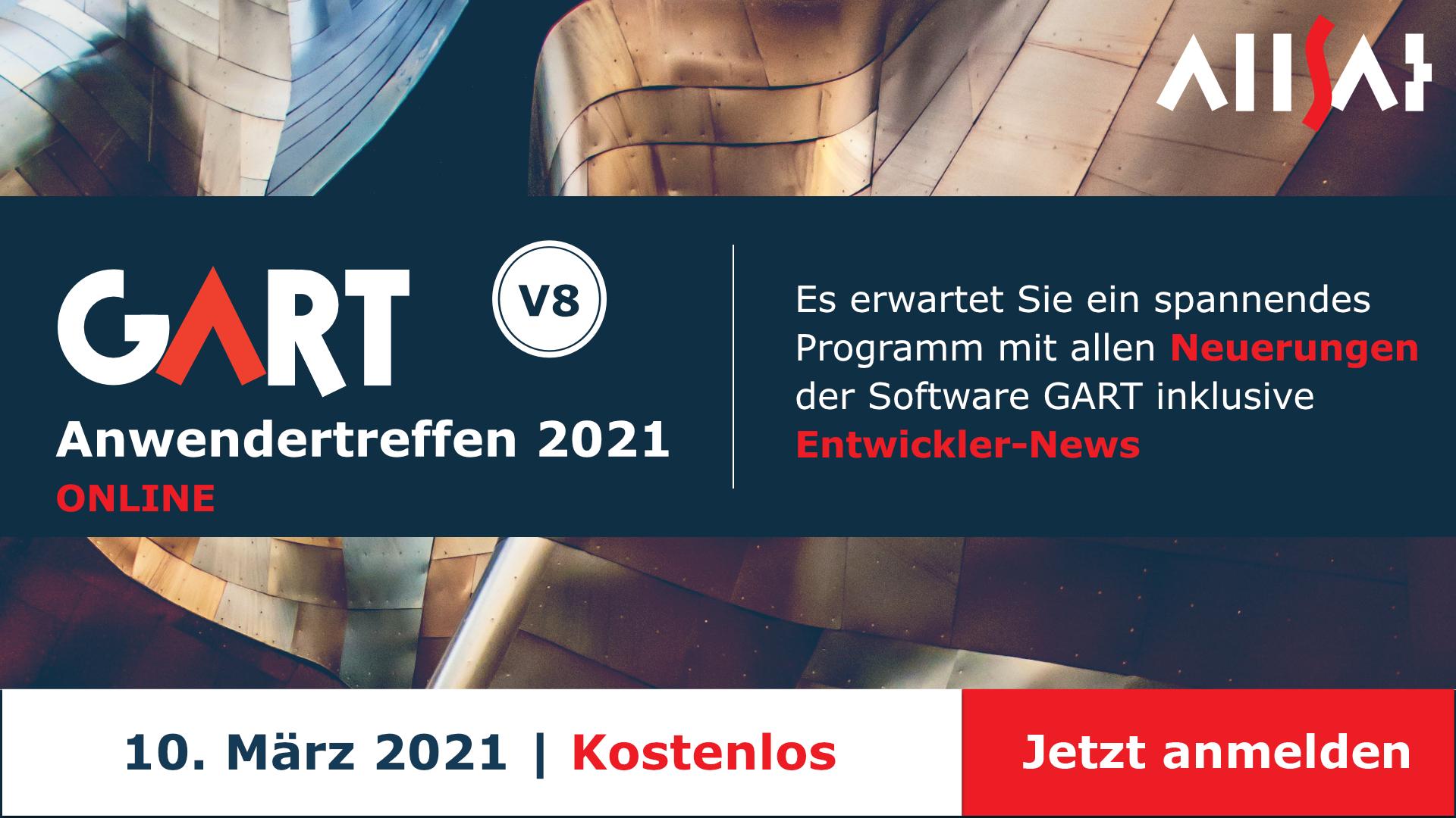 Jetzt direkt einen Platz  beim GART Anwendertreffen 2021 sichern!