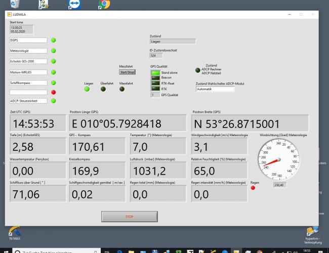 Screenshot der Datenerfassungssoftware LUDMILA zur Küstenforschung