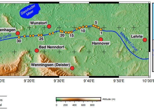 Topographische Karte Mittellandkanal